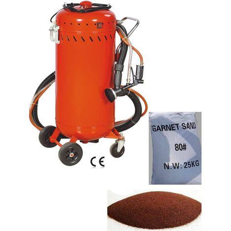 Combiné Sableuse Aspirateur mobile 106L intérieur / extérieur + Sac 25kgs d'Abrasif Garnet Mesh 80A+