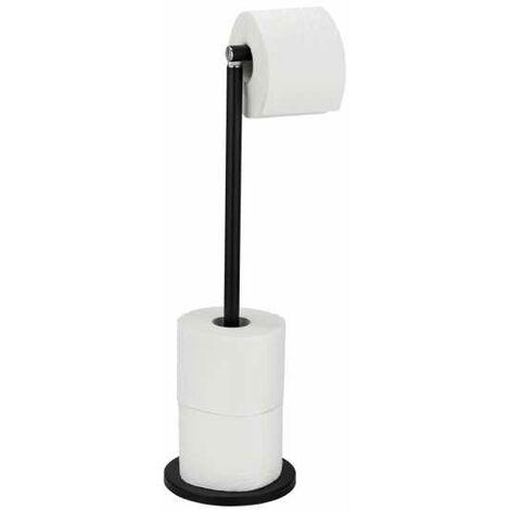 Combiné WC 2en1, dérouleur papier toilette et rangement papier toilette, capacité 4 rouleaux, acier noir mat