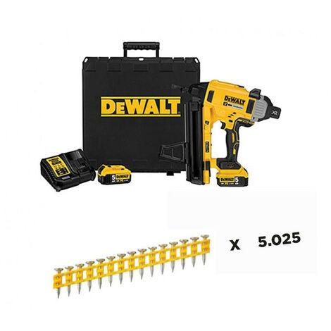 Combo Clavadora de Hormigón y Acero a Batería 18V DCN890P2 + 5.025 Clavos 20mm Dewalt