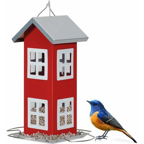 Comedero Colgante para Aves Alimentador de Pájaros 26x12x12cm para Jardín Patio Alféizar Exterior (Rojo)
