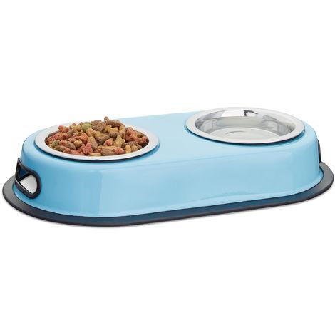 Comedero Doble para Perros y Gatos, Acero Inoxidable, Azul, 5.5 x 33 x 18 cm