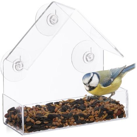 Comedero Pájaros para Ventana con 3 Ventosas, Cristal Acrílico y PVC, Transparente, 15 x 15 x 7 cm