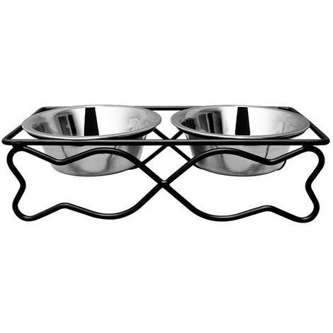 Comedero y bebedero perros de acero inoxidable forma pez