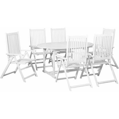 Comedor de jardin 7 pzas de madera blanca con mesa extensible