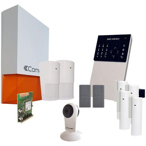 Comelit - Pack alarme connectée Secur Hub 3G + Caméra Wifi - KSW3234LF Kit 3 - Blanc