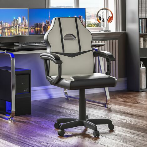 Comet Racing Gaming Chair, White & Black