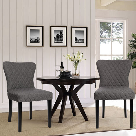 Comfortable Dining Room Chairs 2pcs Grey Fabric High Back Kitchen Chairs
