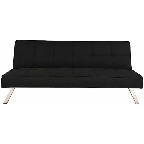 """main image of """"Comfortable Modern 3 Seater Fabric Sofa Bed - Black"""""""