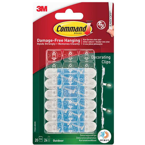 Command COM17026HAW Clear Outdoor Decorating Clips (Pack 20)