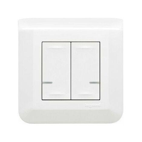 Commande double sans fil pour éclairage, prise connectée ou micromodule - Mosaic with Netatmo - Blanc