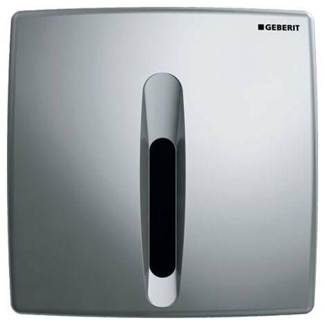 Commande d'urinoir Geberit avec déclenchement électronique de la chasse d'eau, fonctionnement sur secteur, plaque de recouvrement en plastique, Basic, Coloris: chromé mat - 115.817.46.5