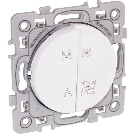 Commande VMC 2 vitesses + interrupteur on-off Square Blanc / Eurohm