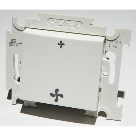 Commande VMC blanche 2 vitesses sans position arrêt 10A encastrée bornes auto fixation vis sans plaque ALTERNATIVE ELEC AE52017