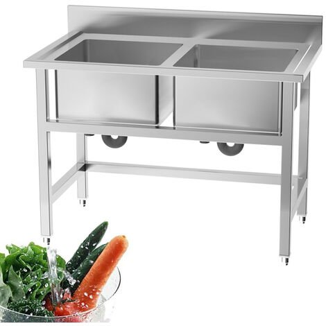 Commercial Catering Deep Sink Stainless Steel Double Bowl Kitchen Drainer