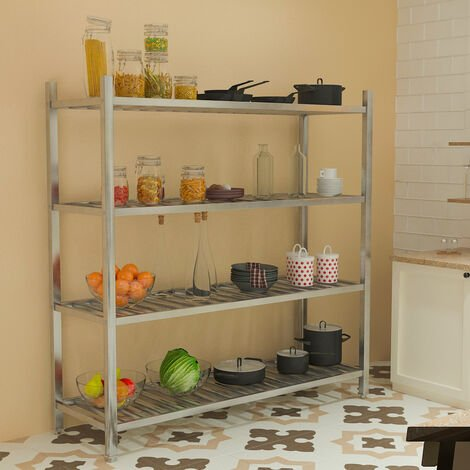 Commercial Catering Shelf 4 Tier Stainless Steel Storage Rack Kitchen Shelving Unit,180x50x150cm