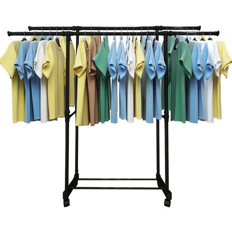 Commercial Grade Clothing Garment Rack Rolling Double Rail Extendable (90-145)*(90-155)*36cm black