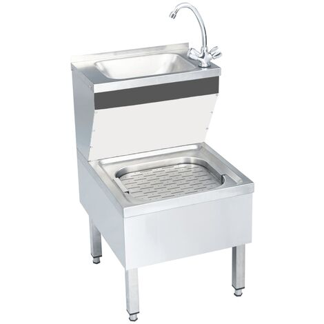 Commercial Hand Wash Sink with Faucet Freestanding Stainless Steel
