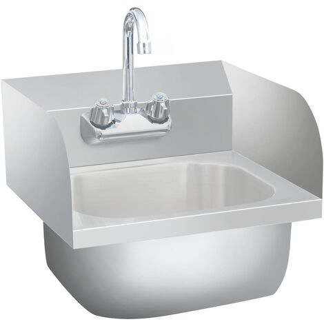 Commercial Hand Wash Sink with Faucet Stainless Steel - Silver