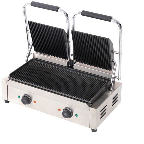 Commercial Panini Grill Press Double Dualit Ribbed Top Sandwich Toaster Maker