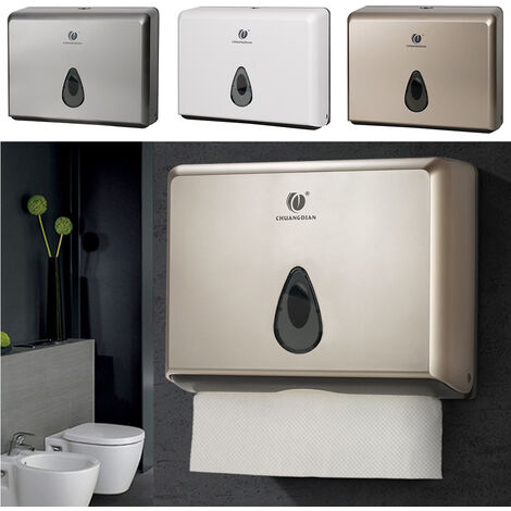 Commercial Toilet Paper Towel Dispenser Box Bathroom Wall Mounted Tissue Holder Champagne
