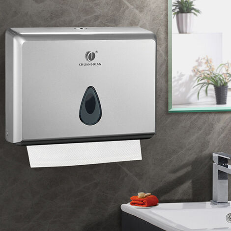 Commercial Toilet Paper Towel Dispenser Box Bathroom Wall Mounted Tissue Holder Silver