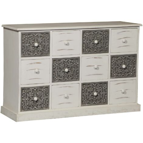 IDMarket Commode 6 tiroirs bois blanc et gris Tomi