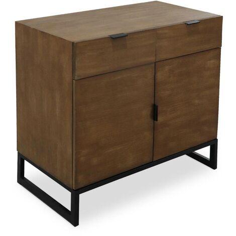 Commode 2 tiroirs et 2 portes battantes Panara Chêne Clair - Chêne clair