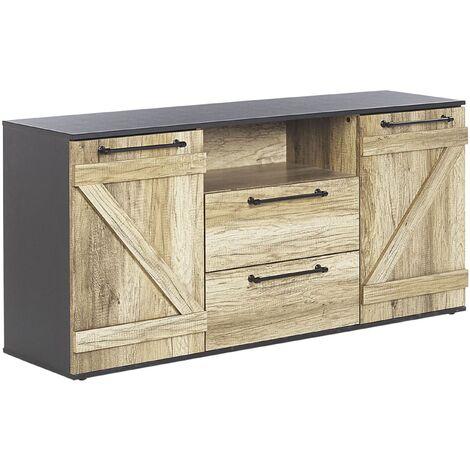 Commode 2 tiroirs noire et bois clair SALTER