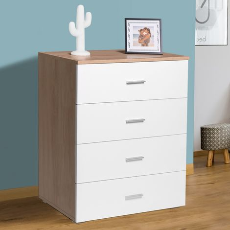 Commode 4 tiroirs bois imitation hêtre et blanc Lola