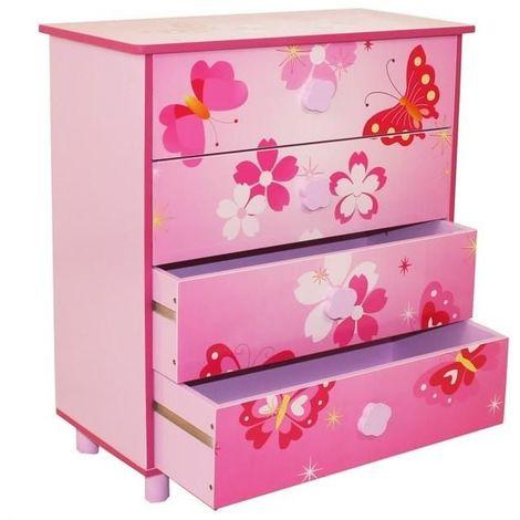 Commode 4 tiroirs chambre enfant motif papillon rose 60x67x30cm