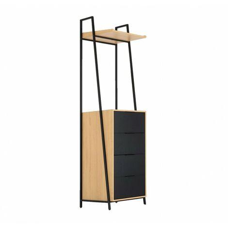 Commode 4 tiroirs noir et beige - Lucien 2900 - bicolore