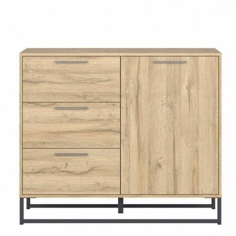 Commode ATRATO style industriel bois décor chêne 1 portes 3 tiroirs - natural