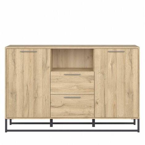 Commode ATRATO style industriel bois décor chêne 2 portes 2 tiroirs - natural