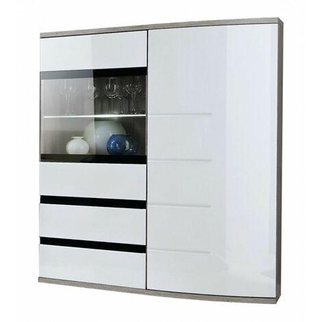 Commode avec porte vitrée - Ontario I - L 100 cm x P 36 cm x H 165 cm - Chêne et blanc - Livraison gratuite