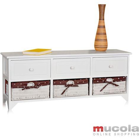 commode banquette blanc maison de campagne banquette bois 3 tiroirs