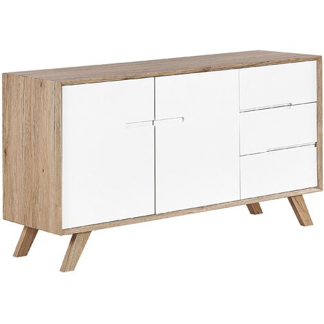 Commode blanche / effet bois clair 3 tiroirs FORESTER