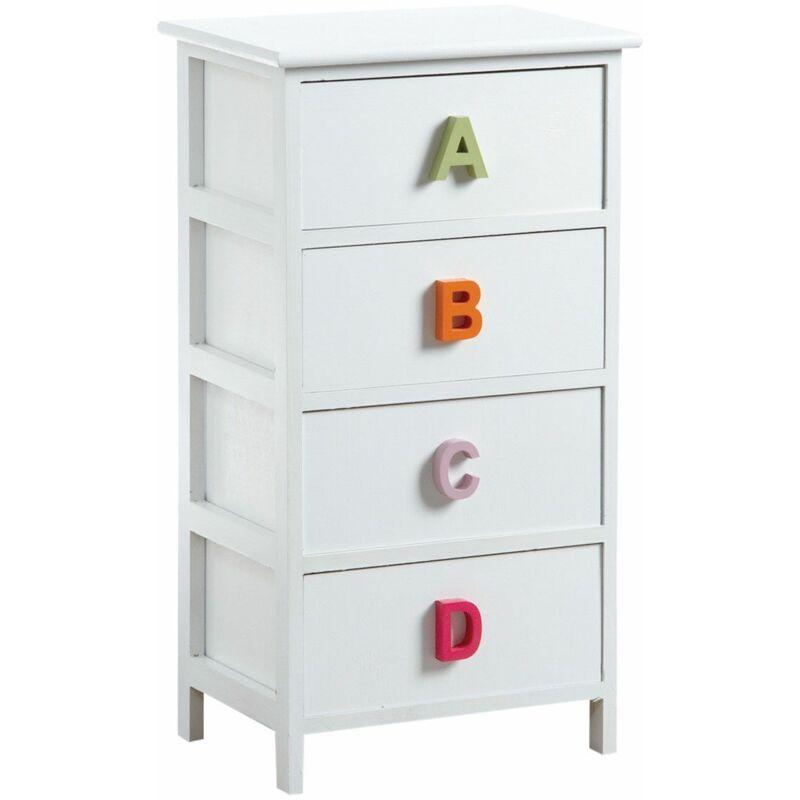 Aubry Gaspard - Commode chambre enfant alphabet 4 tiroirs - Blanc