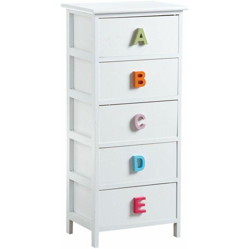 Commode chambre enfant alphabet 5 tiroirs - Blanc