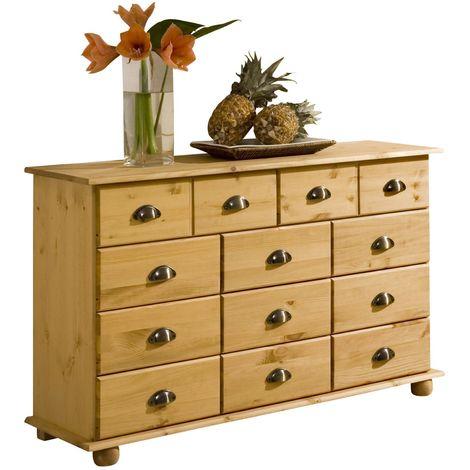 Commode COLMAR chiffonnier apothicaire rangement avec 11 tiroirs en pin massif finition teintée/cirée