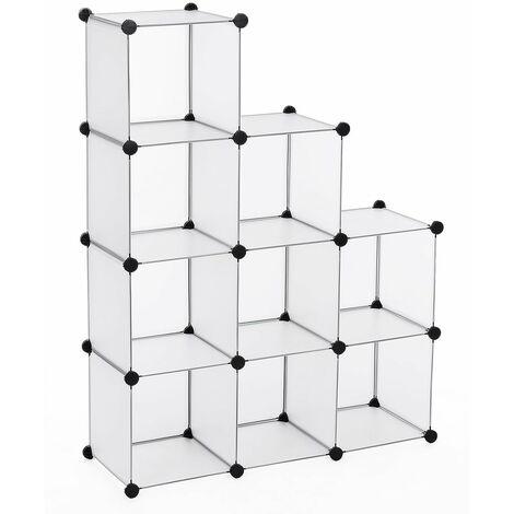 Commode Cubes/étagère de rangement modulables plastiques cadre en métal 96 x 96 x 31,5cm LPC115S