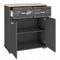 Commode de cuisine avec 2 portes et 2 tiroirs, coloris gris graphite - Dim : 80 x 40 x 90 cm