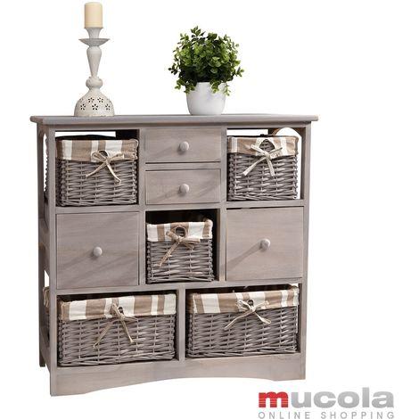 Commode de maison de campagne + 5 paniers + 4 tiroirs, tablette d'armoire vintage M