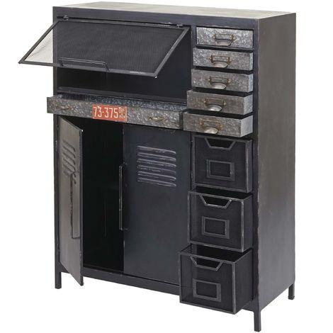 Commode de pharmacien HHG-520, buffet haut, meuble à tiroirs, design industriel, 115x89x35cm