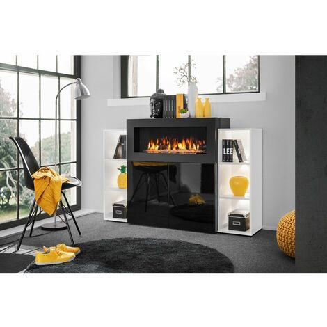 Commode de rangement avec cheminée et étagères - 150 x 40 x 100 cm - Noir et blanc - Livraison gratuite
