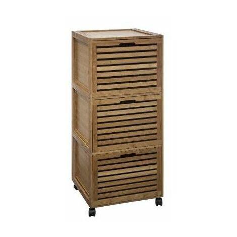 Commode de salle de bain 3 tiroirs - Bambou - Meuble de rangement ...
