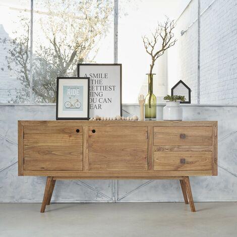 Commode en bois de mindy 2 tiroirs 2 portes - Naturel