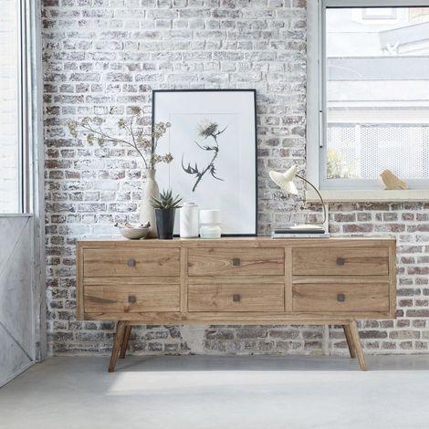Commode en bois de mindy 6 tiroirs - Naturel