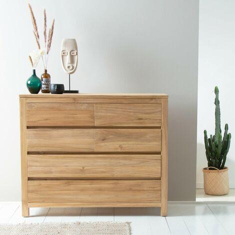 Commode en bois de teck 120 cm - Naturel