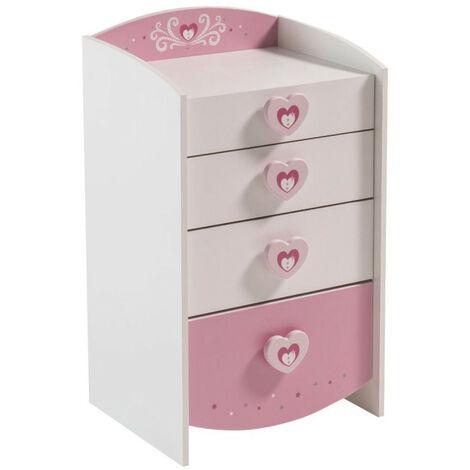 Commode enfant 4 tiroirs Mulan rose et blanche - Rose