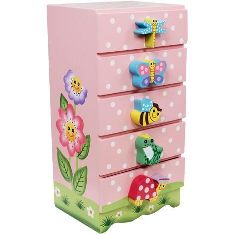 Commode enfant Magic Garden meuble de rangement à bijoux en bois fille TD-11640A